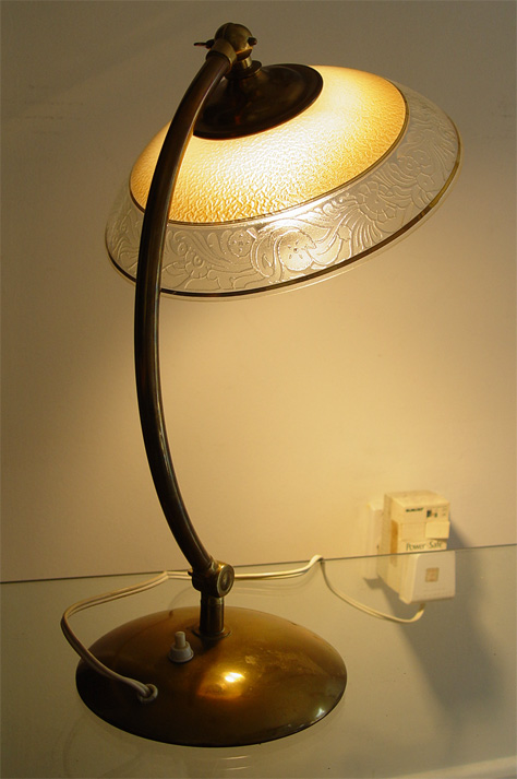 original art deco german brass table lamp with etched glass shade. Black Bedroom Furniture Sets. Home Design Ideas